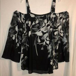 Dress Barn XL Black and Gray Cold Shoulder Top